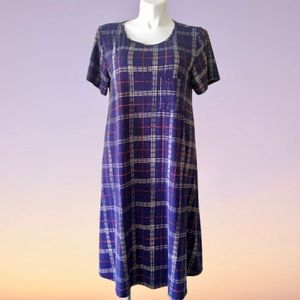 LuLaRoe Carly Navy Blue Perfectly Plaid Dress 2XL